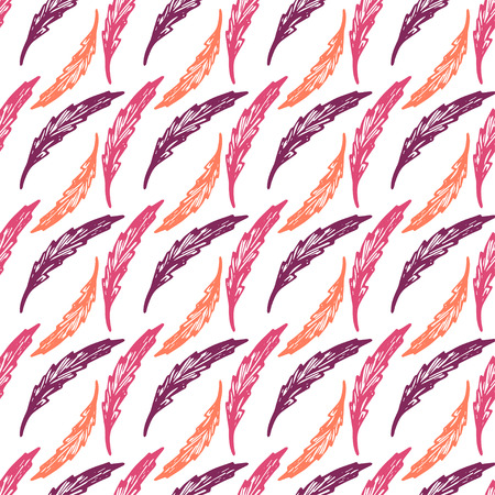 Beautiful colorful seamless pattern with elegant feathers or leaves - hand drawn vector illustration