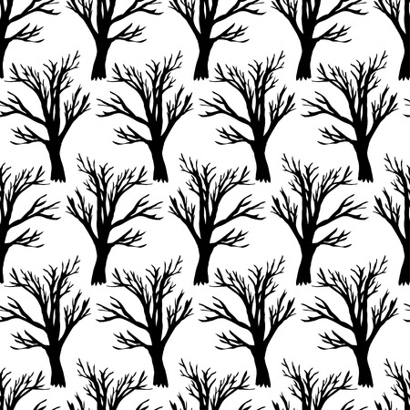 abstract wallpaper: Tree without leaves on white seamless pattern. Forest seamless texture. Hand drawn background. Vector illustration.