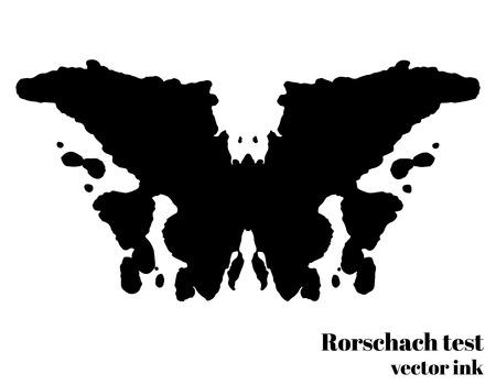 Rorschachtest inktvlek vector illustratie. Psychologische test. Silhouet vlinder geïsoleerd. Vector illustratie