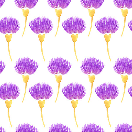 Watercolor vector floral seamless pattern with decorative violet thistle flowers. Spring background Vector