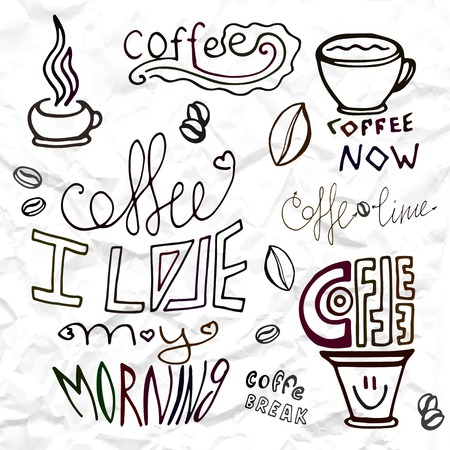 bonjour: Set hand drawn coffee theme elements, vector illustration