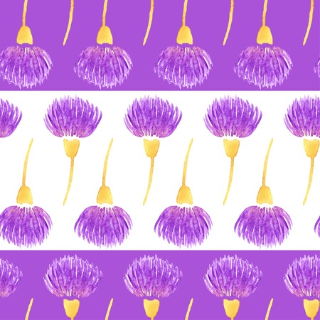 Seamless pattern with flower. Watercolor violet thistle flowers. Vector illustration. Vector