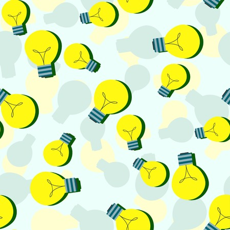 yellow bulb: Vector seamless pattern with flat light bulbs. Simple background with yellow bulb. Vector design