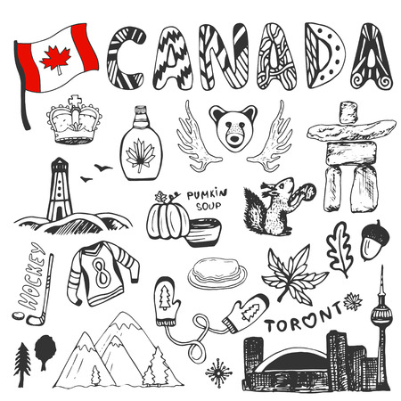 Sketch hand drawn collection of Canada symbols. Canadian culture set elements for design. Vector travel illustration with doodle lettering. Illustration