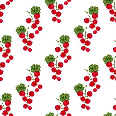 レッドカラント: 赤スグリと水彩のシームレスなパターン。ベクター フルーツ テクスチャ背景。健康的なメニューは、包装やラッピング デザイン