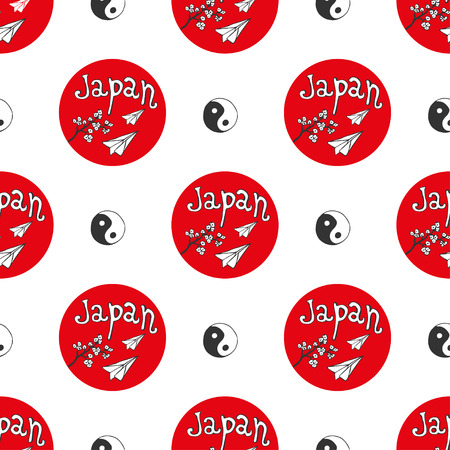 japan culture: Hand drawn seamless pattern with Japan culture elements. Japan flag with yin yang background for design. Travel vector illustration