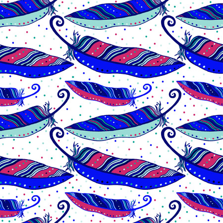 Seamless hand drawn pattern of iridescent violet bird feathers. Vector illustration.