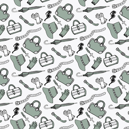 clutch cover: Doodle hand drawn girl fashion accessories and handbags seamless pattern.