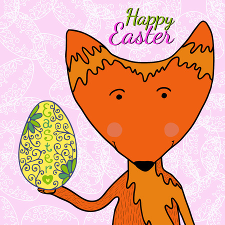 anthropomorphism: Hand drawn illustration cute fox with hand drawn golden egg in colors