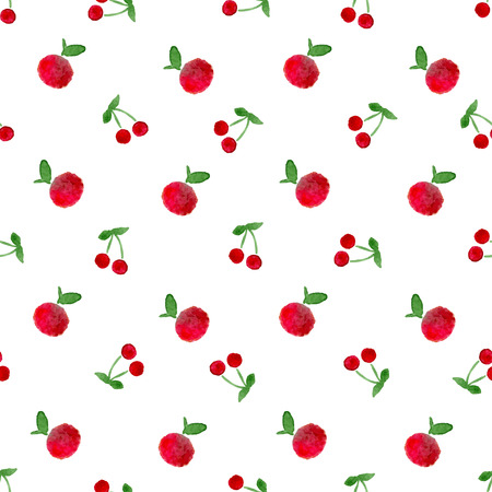Seamless pattern with watercolor apple and cherry by hand painted. Fruit texture vector illustration