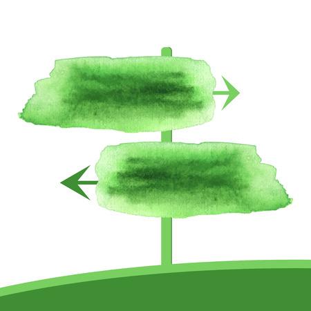 green arrow: Watercolor two green arrow. Vector pointer spring banner