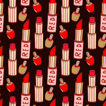 body wrap: Seamless pattern with  red lipsticks and nail varnishes. Hand drawn fashion vector texture on dark background.
