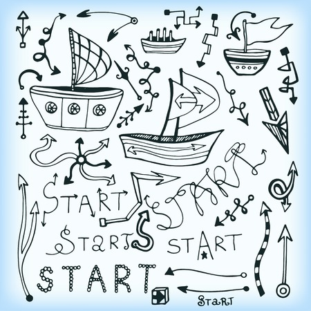 object printing: Set of arrow multi shape, doodle ship and lettering - Start. Vector illustration. Can use for object printing and web.
