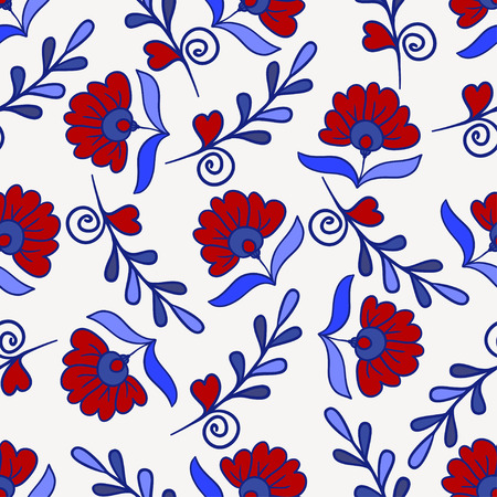 graphic texture: Seamless texture with red and blue modern flowers. Vector Endless floral pattern