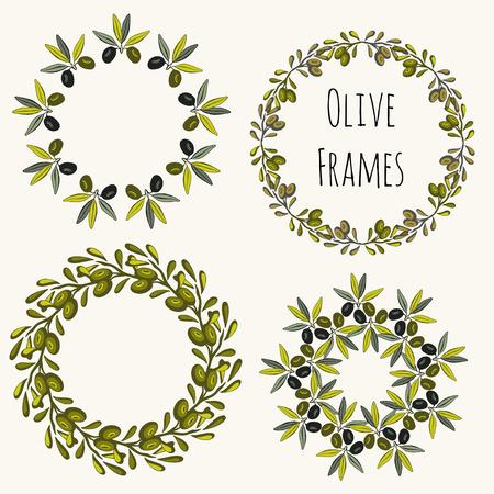 オリーブ フレームは手描き下ろしのセットです。ベクトル ラベル デザイン コレクション  イラスト・ベクター素材