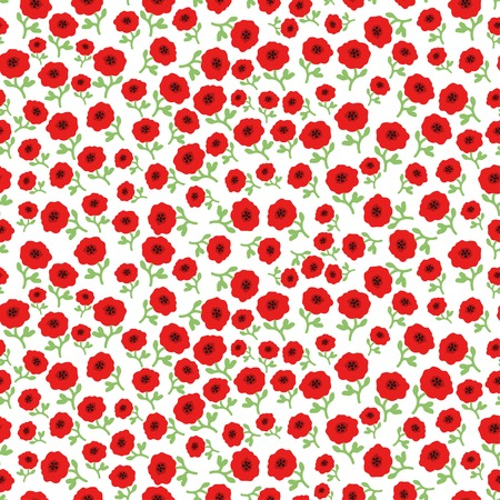 Vector red poppy flowers seamless pattern background with hand drawn flowers. Illustration