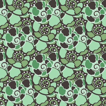 cephalopod: Vector seamless pattern with blue green shells. Amonite seamless vector texture