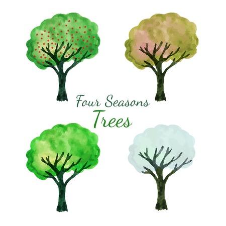 four season: Four season trees set. Watercolor isolated trees vector set. Hand paint illustration