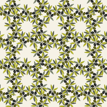 オリーブのシームレスなパターン。オリーブの枝の手描きの背景。古いファッション オリーブ パックのラベルのための装飾的な質感。