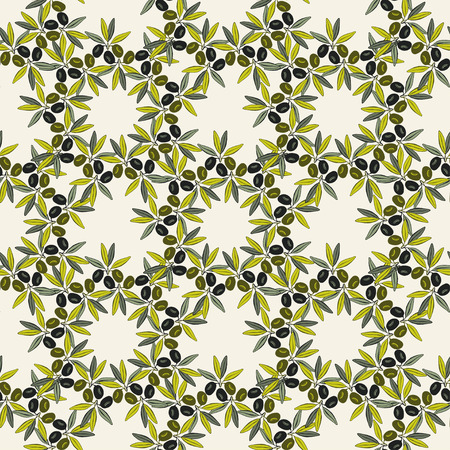 Olive seamless pattern. Hand-drawn olive branch background. Old fashion olive decorative texture  for label, pack.