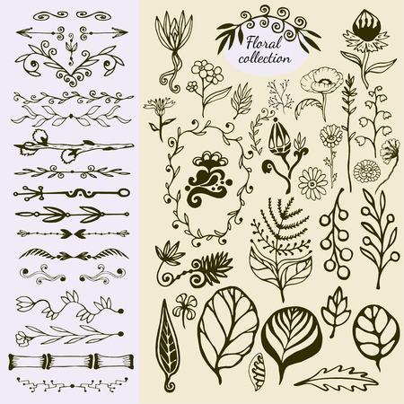 Hand Drawn vintage floral elements. Big set of wild flowers, leaves, swirls, border. Decorative doodle nature elements Ilustração