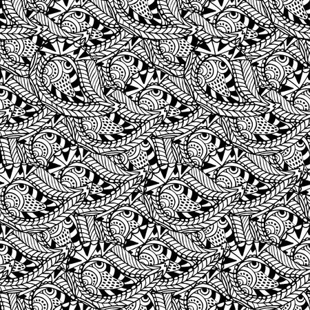 Ornamental seamless pattern. Vector black and white texture. Seamless vector template can be used for wallpaper, pattern fills, textile, fabric, wrapping, surface textures for design Çizim