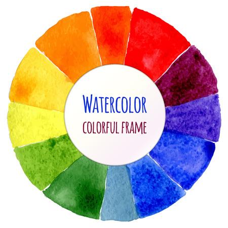 circulos concentricos: Rueda de color de la acuarela. Espectro de la acuarela aislada. Ilustración del vector. Marco de acuarela del arco iris. Modelo colorido para su diseño.