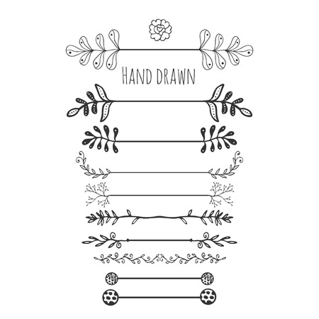 Hand drawn floral elements. Collection hand drawn border with ink doodle decoration. Retro style. Laurels, leaves, arrows, branches.