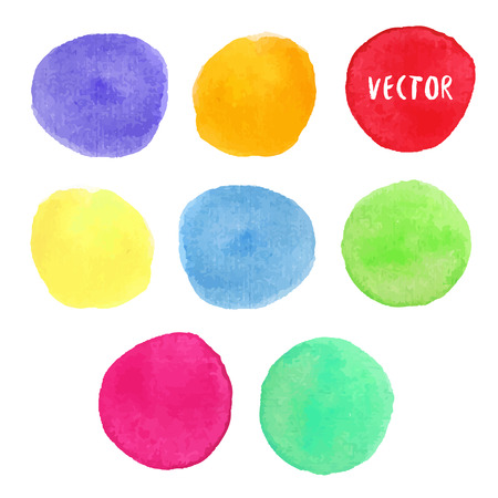 watercolour: Colorful watercolor design elements. Vector watercolor circle stains isolated collection. Watercolour palette. Banner or icon background