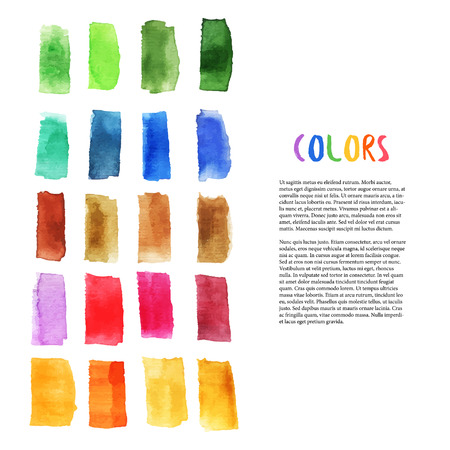 Colorful watercolor design elements with brush stroke elements. Palette art. Art studio decoration. Vector template for flyer, banner, poster, brochure, cover, postcards, invitation,  greeting card