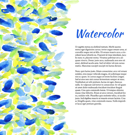 the information card: Watercolor background with colorful spots. Abstract summer background. Vector  template for flyer,banner, poster, brochure, postcards, invitation, wedding, birthday and greeting card Illustration