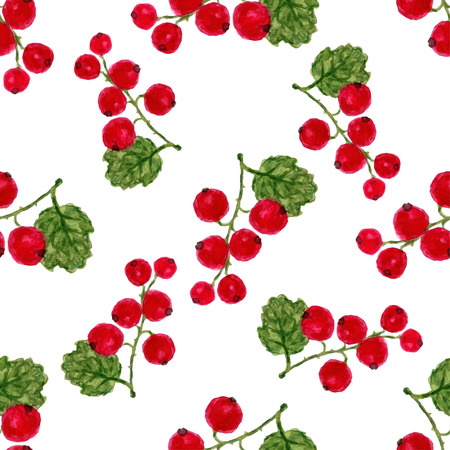 red currant: Watercolor seamless pattern with red currant. Vector background. For healthy menu, packaging or wrapping design