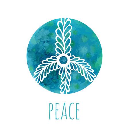 simbolo della pace: Priorit� bassa dell'acquerello con il segno della pace. Musica e concetto di amore con disegnati a mano di doodle ornamento. Hippie illustrazione vettoriale. Icona, il logo, stampa