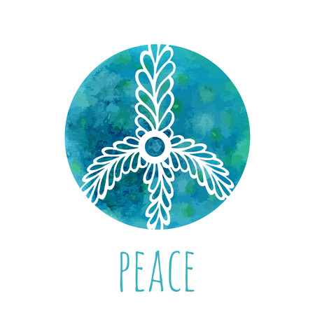 symbol sign: Watercolor background with peace sign. Music and love concept with hand-drawn doodle ornament. Hippie vector illustration. Icon, logo, print