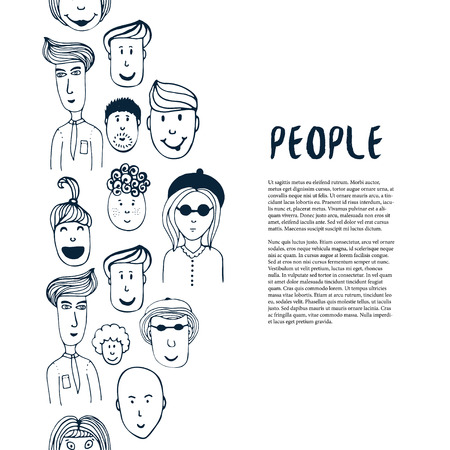 business meeting: Hand drawn sketch people collection. Vector design business template. Border with people for flyer, banner, poster, brochure, cover, postcards, web page, greeting card Illustration