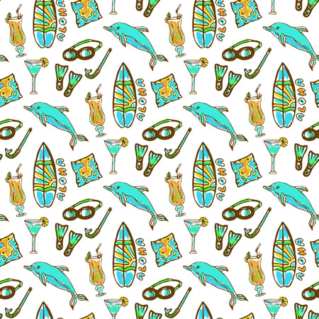 diving equipment: Hand drawn surfing and diving seamless pattern. Hawaii pattern with dolphin, cocktail and surf board. Tourism vector background. Banner or poster, travel design template Illustration
