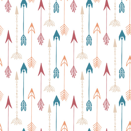 arrows background: Seamless pattern of vintage arrow. Hand drawn arrows texture for textile, print, web, wrapping. Vector background