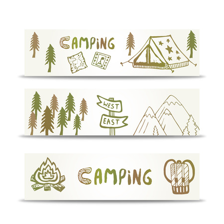 background business: Camping banners horizontal set with mountain and tent. Hand drawn elements on design template