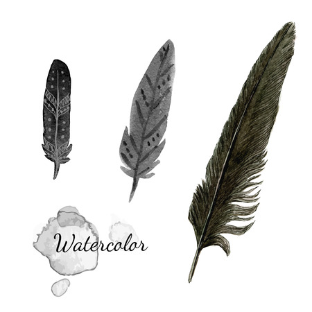 ink sketch: Watercolor feathers. Black feather of crow. Hand drawn vector set
