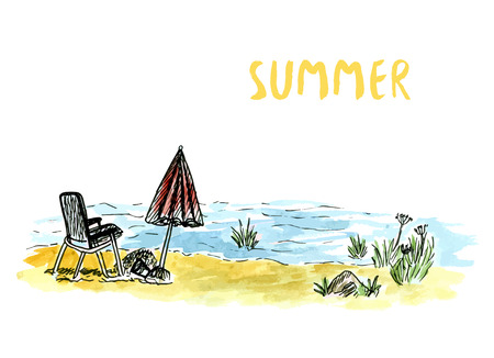 sunset beach: Vector sketch art with beach armchair and umbrella. River or sea holidays. Hand drawn watercolor illustration