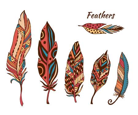 feather: Mano plumas boho dibujados colecci�n de vectores. Conjunto de doodle de plumas de colores �tnicos. Pluma zentangle lindo para su dise�o. Para tarjeta de felicitaci�n y tarjetas postales, henna y dise�o del tatuaje