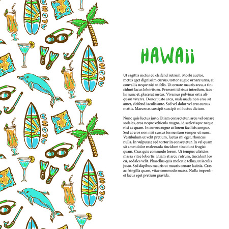 tropical background: Hand drawn surfing and diving decoration. Hawaii holiday. Tourism vector background. Banner or poster, brochure, travel design template