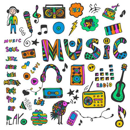 音楽落書きを手描きのコレクションです。カラフルな音楽のアイコンを設定します。ヒッピー スタイルです。ベクトルの図。