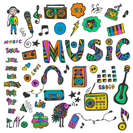 Hand-drawn collection with music doodles. Colorful music icons set. Hippie style. Vector illustration. Illustration