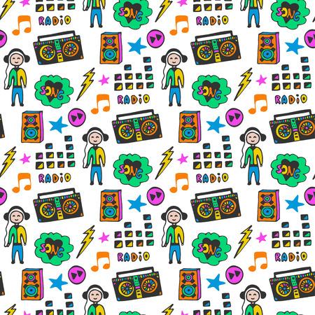 musik hintergrund: Bunte musikalische nahtlose Muster. Fun Farben. Doodle Hintergrund Musik Illustration