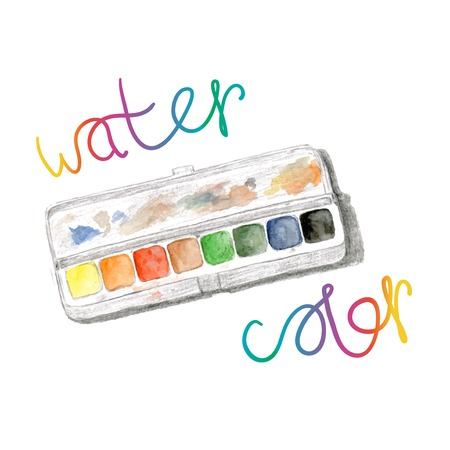 paintbox: Watercolors and paintbox. Rainbow watercolor palette. Vector hand painting isolated