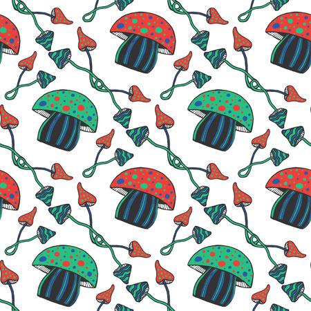 psilocybin: Hand drawn colorful psychedelic mushrooms seamless pattern. Doodle magic vector background with poison mushrooms Stock Photo
