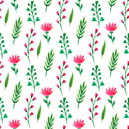 pastel like: Cute floral seamless pattern. Summer flowers, branches and leaves. Vector watercolor painting, for wallpaper, wrapping, packaging, textile