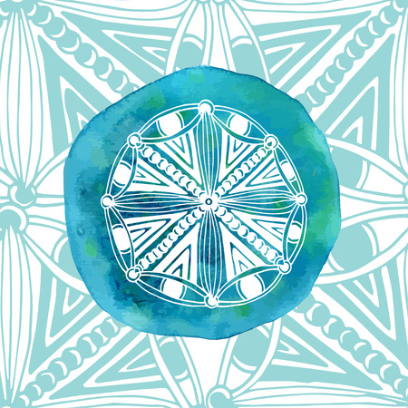 energy center: Watercolor blue mandala with ornamental background. Asian style. Vector logo or icon template