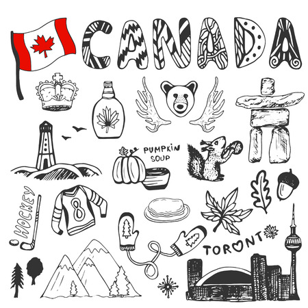 Sketch hand drawn collection of Canada symbols. Canadian culture set elements for design. Vector travel illustration with doodle lettering Stock Photo
